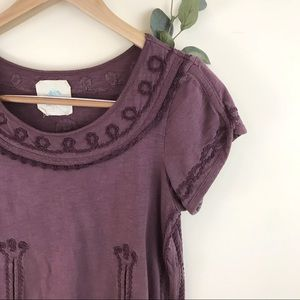 C. Meet Anthropologie Floral Embroidered Plum Top